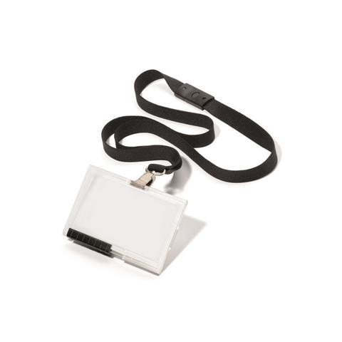 Бейдж Durable горизонтальный 91х60 мм с черной тесьмой (10 штук в упаковке)