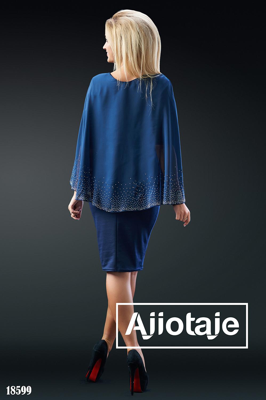 Темно-синее платье с имитацией накидки из шифона