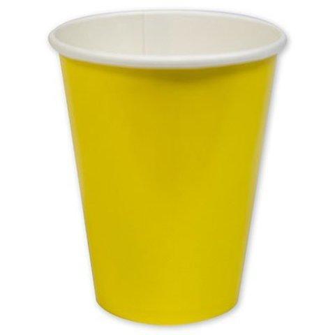Стакан бумажный Солнечно-желтый, 8 шт.