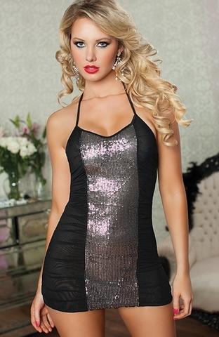 Прозрачное сзади платье с блестящей вставкой спереди