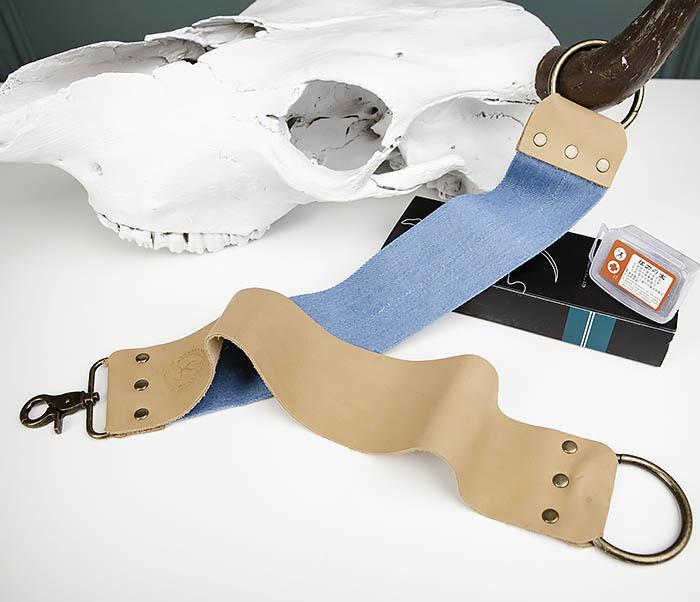 RAZ444 Двухсторонний ремень для правки опасной бритвы (кожа и ткань)