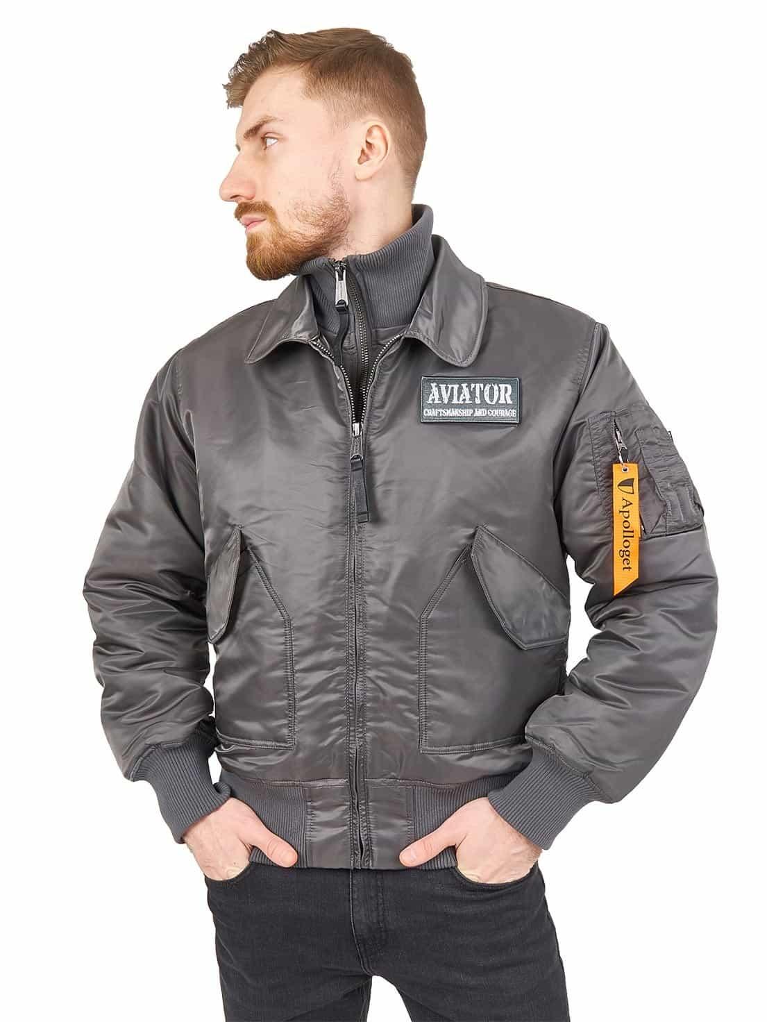Куртка Бомбер - Aviator Apolloget (серая - gun grey)