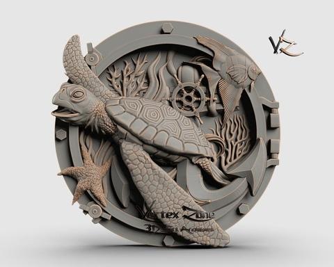 Силиконовый молд Медальон Черепаха