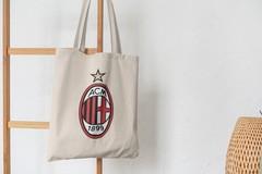 Сумка-шоппер с принтом FC ACM Milan (ФК Милан) бежевая 001