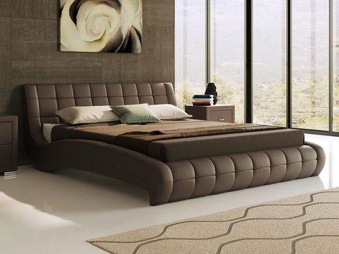 Кровать двуспальная Nuvola 1 (Нувола 1) Экокожа коричневая