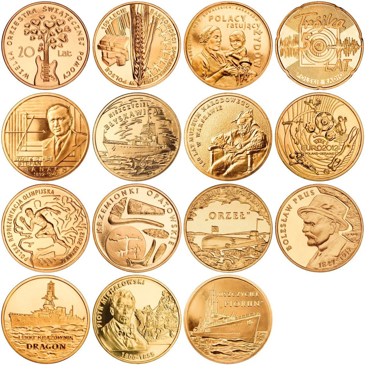 Набор из 15 монет номиналом 2 злотых. Годовой набор. 2012 год, Польша. UNC