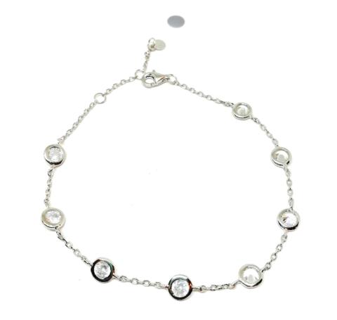 11221- Браслет из серебра с завальцованными цирконами
