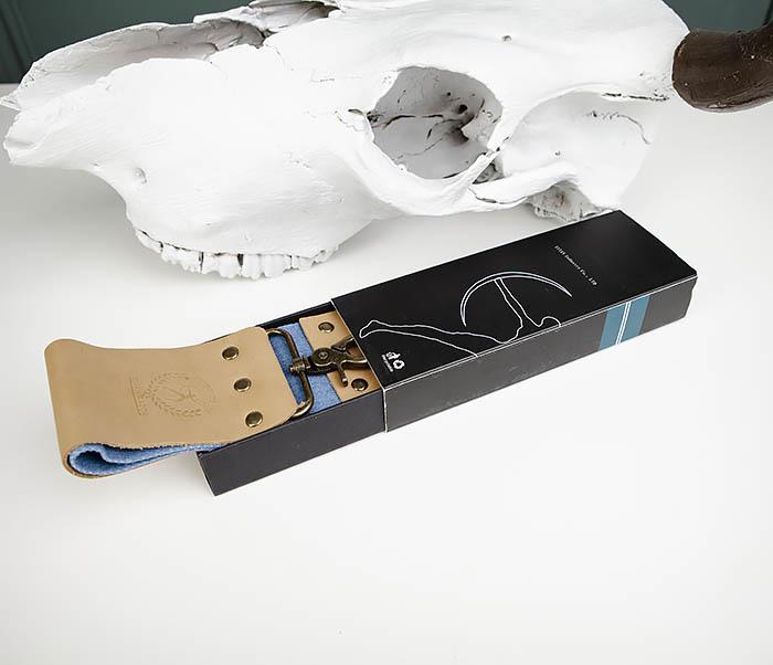 RAZ444 Двухсторонний ремень для правки опасной бритвы (кожа и ткань) фото 02