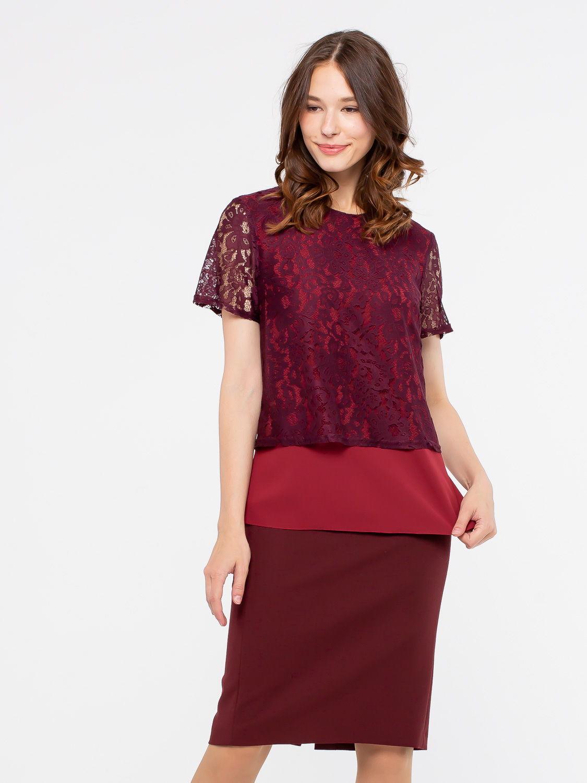 Блуза Г576-127 - Прекрасная двойная блуза из комбинированной ткани. Нижняя часть из плотного шифона, верхняя из кружева в тон. На нижней части по бокам есть разрезы.  Блуза отлично сидит на любой фигуре, она станет украшением вашего гардероба и поможет  создать элегантные запоминающиеся луки.   Можно носить как на выпуск, так и заправляя внутренний слой в юбку. В этом варианте будет эффект кроп-топа