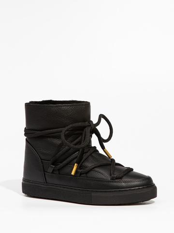Высокие комбинированные кеды INUIKII 70202-89 Sneaker Full Leather Black на меху