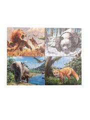 Развивающий пазл SHAPES PUZZLE Животные 4 картинки 114 элементов в деревянной коробке