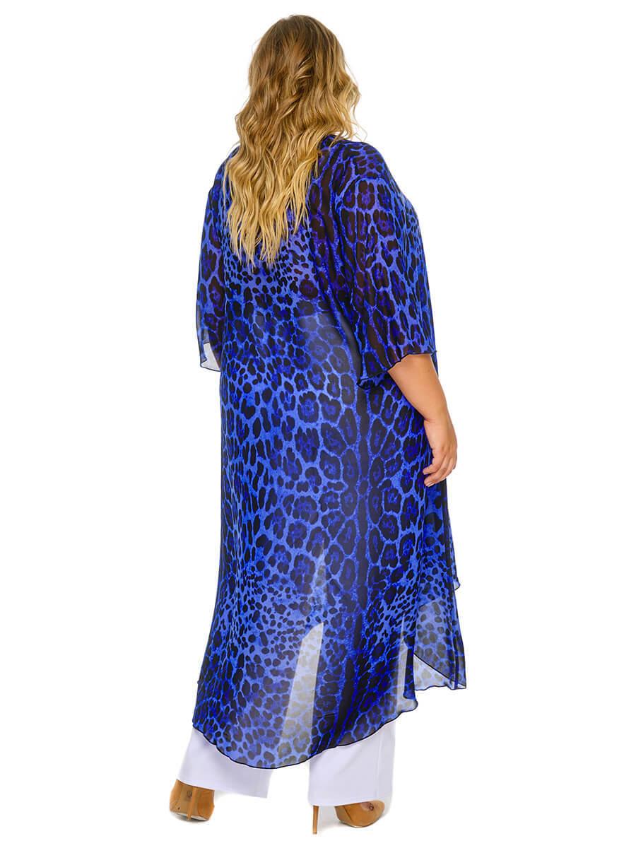 Удлиненная туника из шифона Синий леопард