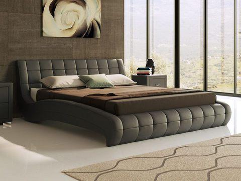 Кровать двуспальная Nuvola 1 (Нувола 1) Экокожа черная