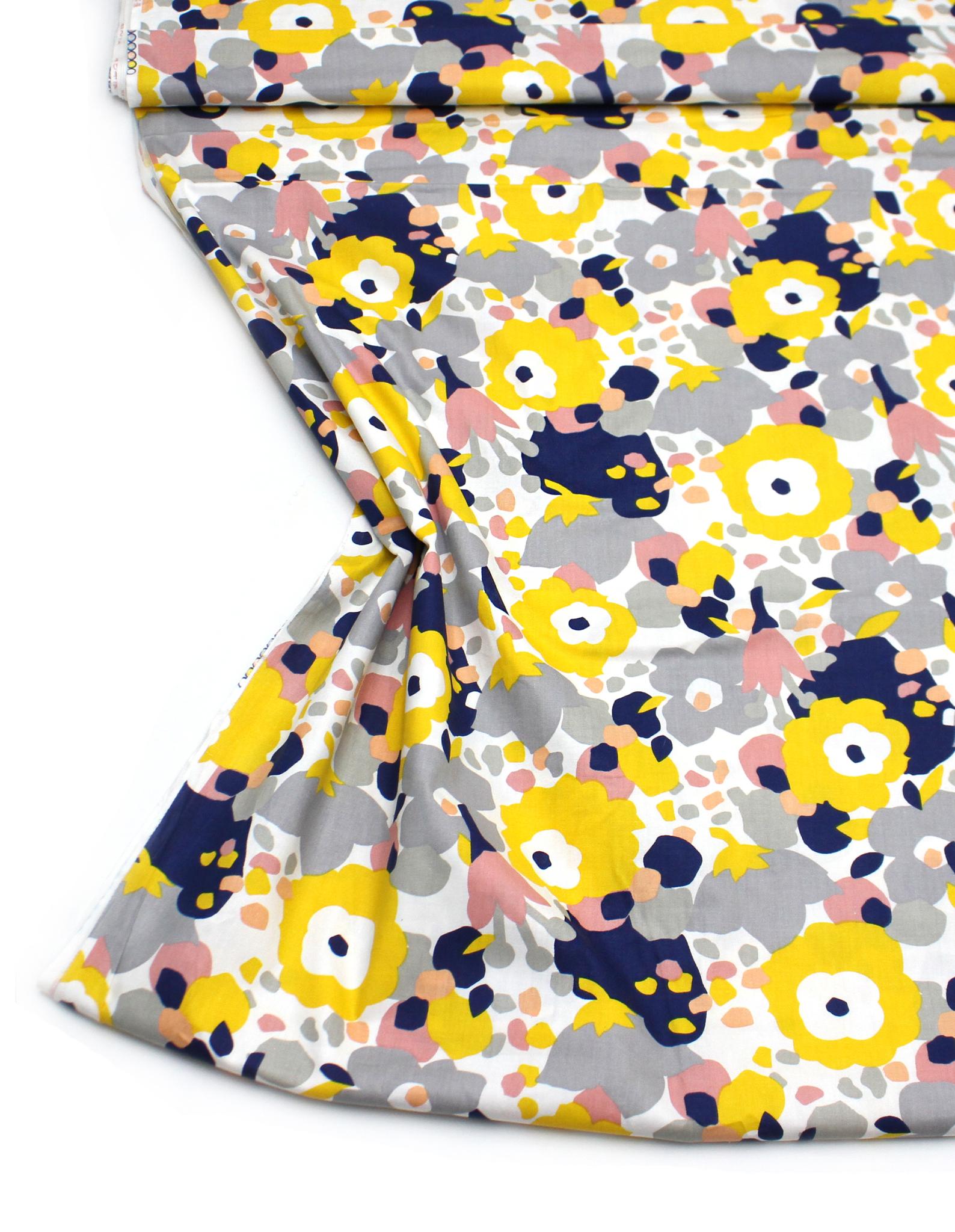Цветы,абстракция(желто-серо-синие)