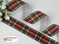 Лента репсовая яркая шотландка 25 мм
