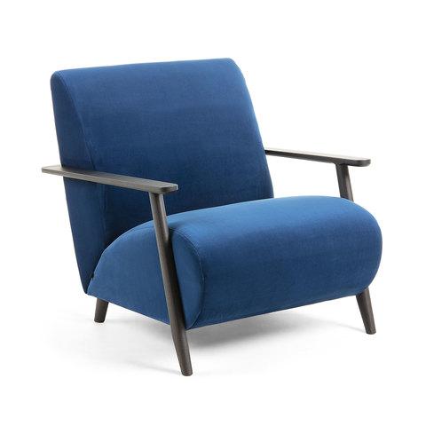 Кресло Marthan синее подлокотники черные