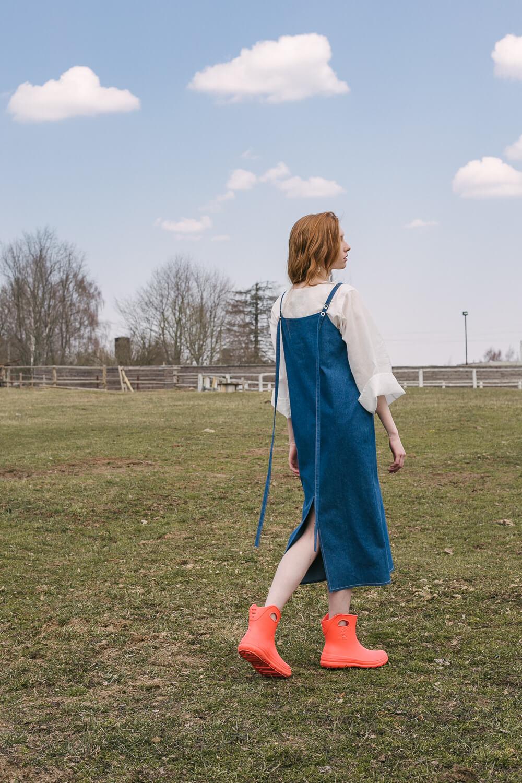 Сарафан на лямочках-лентах,  голубой деним
