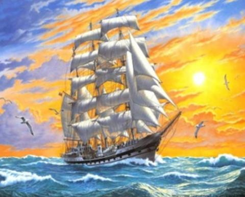 Алмазная Мозаика 30x40 Корабль в море на рассвете