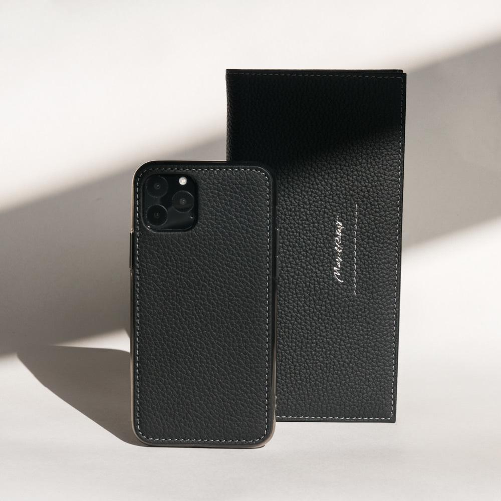 Чехол-накладка для iPhone 11 Pro из натуральной кожи теленка, цвета черный мат
