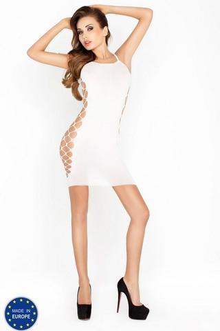 Сексуальное короткое платье с сеткой по бокам (026) белое