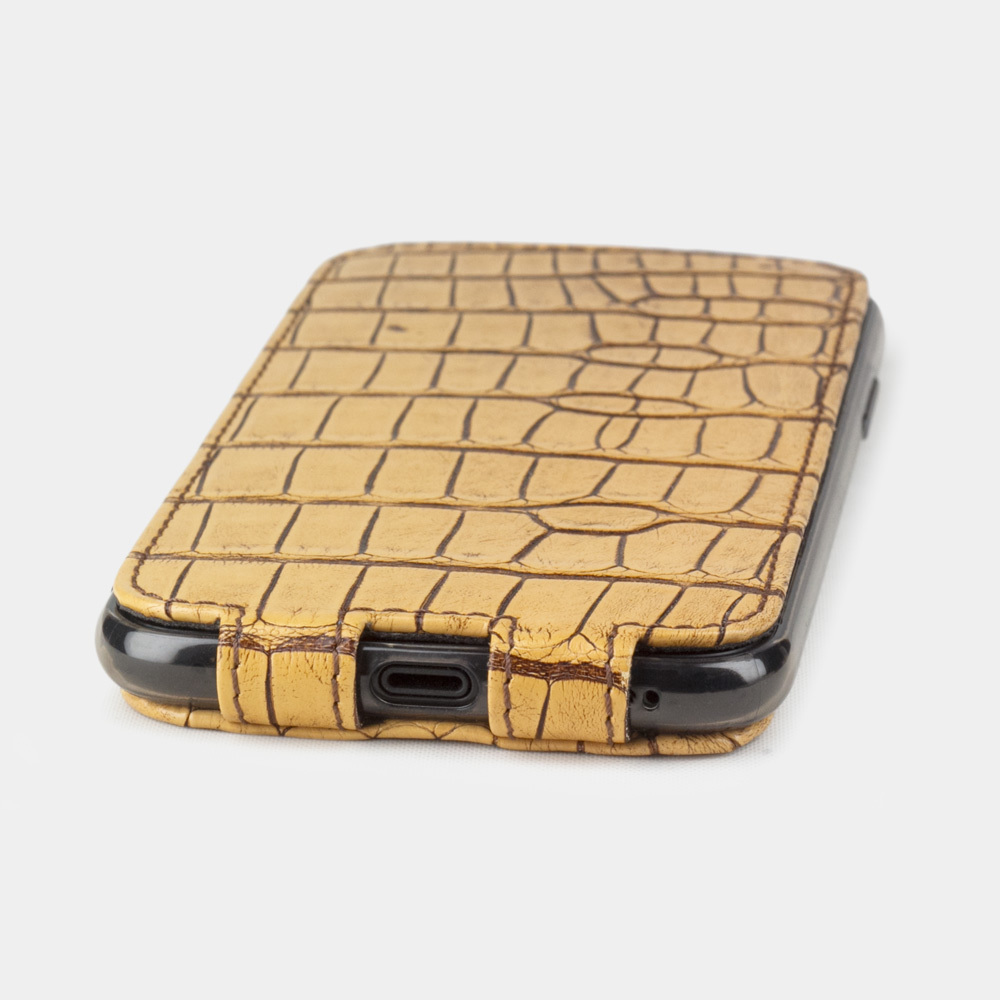 Чехол для iPhone X/XS из натуральной кожи крокодила, цвета винтаж бежевый