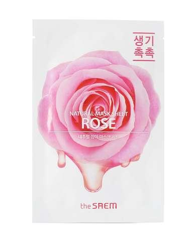 СМ Маска на тканевой основе для лица N с экстрактом розы Natural Rose Mask Sheet 21мл