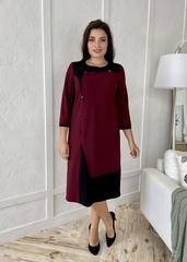Марія. Комбінована сукня великих розмірів. Бордо