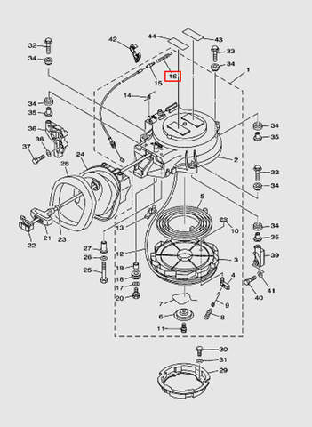 Пружина возвратная троса стартера для лодочного мотора T40 Sea-PRO (7-16)