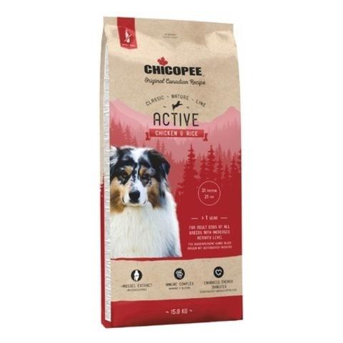 Chicopee CNL Active Chicken & Rice сухой корм для активных собак всех пород с курицей и рисом, 15 кг.