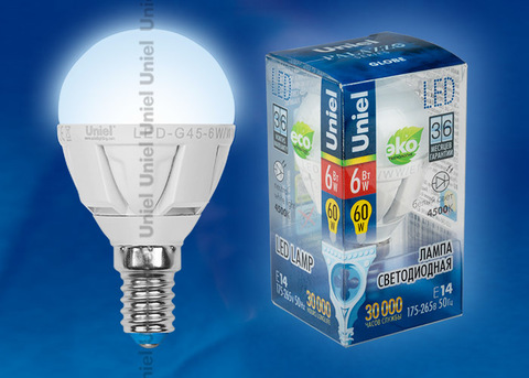 LED-G45-6W/NW/E14/FR ALP01WH Лампа светодиодная. Форма