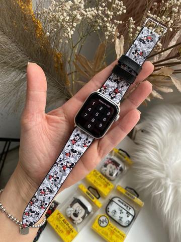 Ремешок Apple watch 38mm Leather Сlassic t/Mikki black gray/