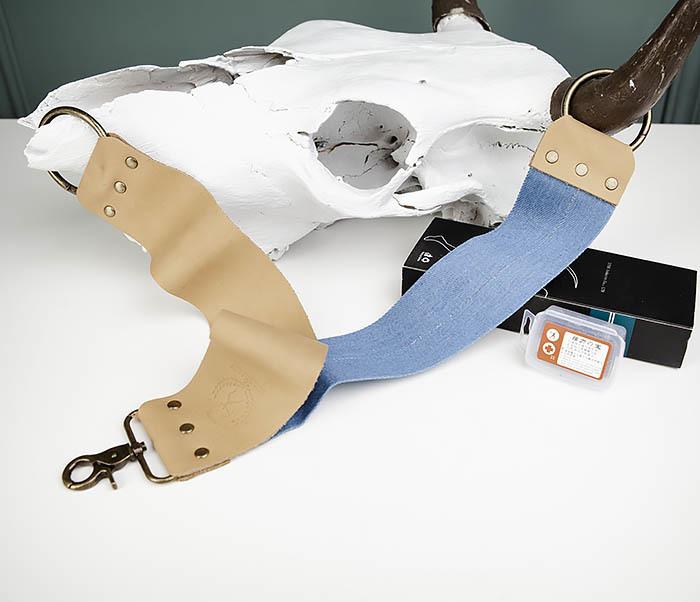 RAZ444 Двухсторонний ремень для правки опасной бритвы (кожа и ткань) фото 08