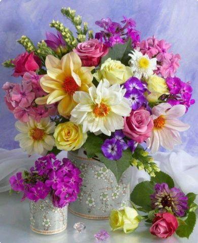 Алмазная Мозаика 30x40 Разноцветные букеты в белых вазах