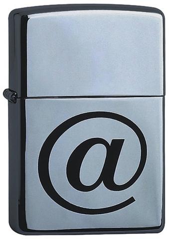 Зажигалка ZIPPO Classic  Brushed  Chrome™   Символ @  ZP-200 Internet