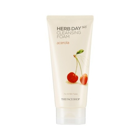 The Face Shop Herb Day 365 Cleansing Foam Acerola пенка с ацеролой с тонизирующим и регенерирующим действием