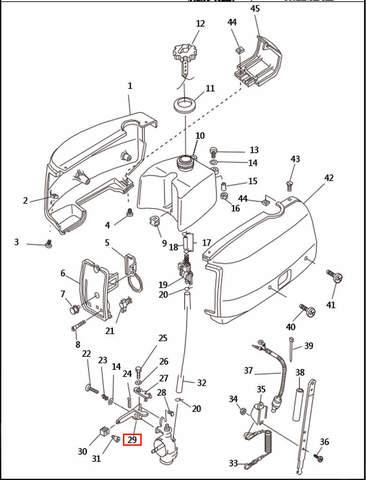Рычаг управления дроссельной заслонкой  для лодочного мотора T2,5 SEA-PRO (1-29)