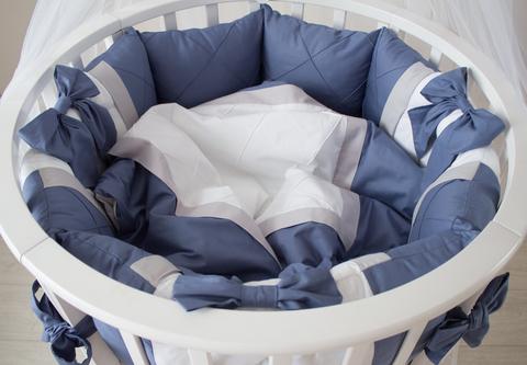 Комплект в круглую/овальную кроватки  Океан