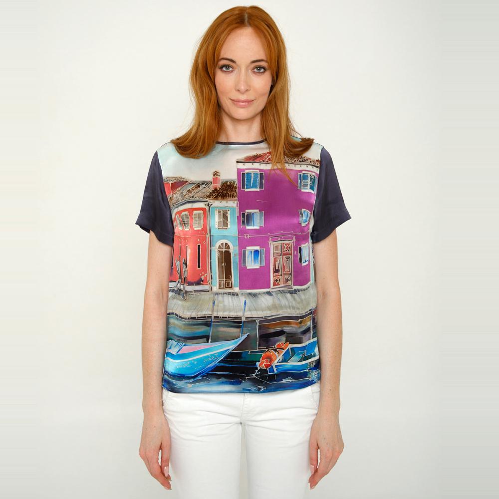 Шелковая блузка батик Венеция