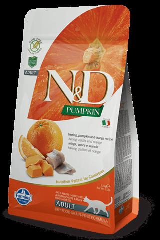 купить Farmina N&D Herring, Pumpkin & Orange recipe сухой беззерновой корм для взрослых кошек