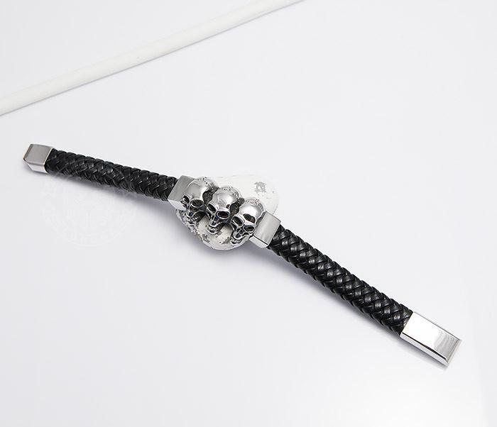 BM485 Мужской браслет из плетеной кожи с черепами (20 см) фото 02