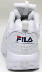 Зимние кроссовки белые Fila Disruptor II