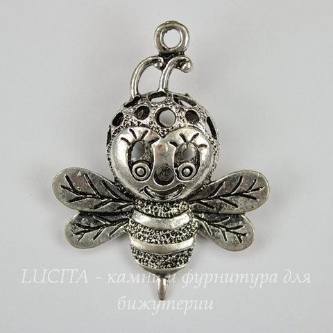 """Подвеска """"Пчела"""" объемная, ажурная (цвет - античное серебро) 37х29 мм"""