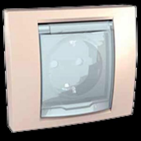 Розетка с заземлением с крышкой IP 44, со шторками 16А. Цвет Бежевый. Schneider electric Unica. MGU61.037.25