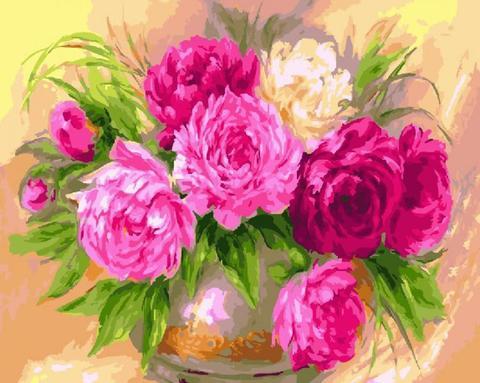 Алмазная Мозаика 30x40 Букет розовых цветов с зеленью