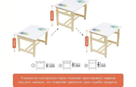 Комплект растущей детской мебели Polini kids Eco 400 SM, 68х55 см, белый-натуральный