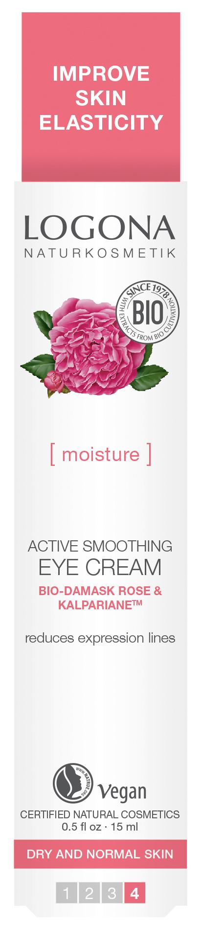 LOGONA Крем для увлажнения и активного разглаживания кожи вокруг глаз с Био-Дамасской Розой и комплексом Kalpariane