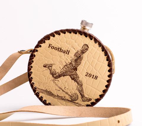 Фляга круглая в кожаном чехле «Football-2018», 0,5 л