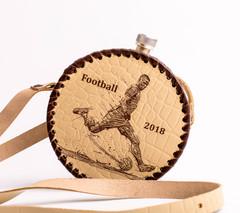 Фляга круглая в кожаном чехле «Football-2018», 0,5 л, фото 1