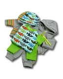 Большой трикотажный комплект (акулы) - Зеленый. Одежда для кукол, пупсов и мягких игрушек.