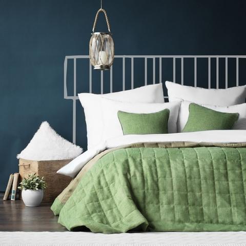 Комплект штор и покрывало рогожка Джулия зеленый 7 предметов